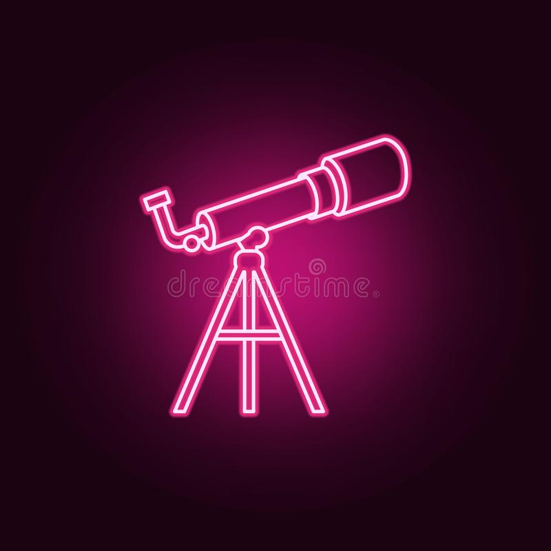 Línea icono de neón del telescopio Elementos del sistema de Sciense Icono simple para las p?ginas web, dise?o web, app m?vil, gr? stock de ilustración