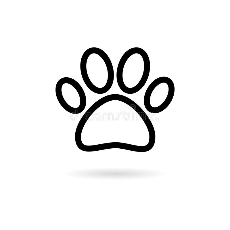 Línea icono de Paw Print Symbol ilustración del vector