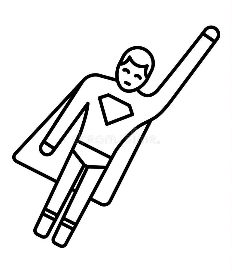 Línea icono de super héroe del hombre del palillo Diseño de icono del superhéroe Ilustración del vector ilustración del vector