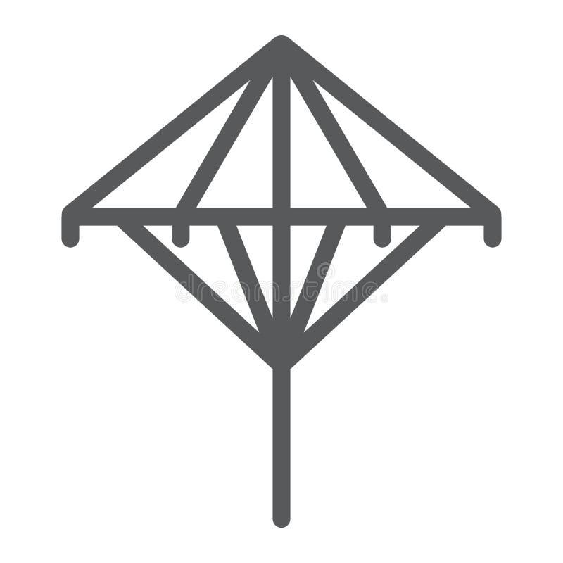 Línea icono de Wagasa, asiático y accesorios, muestra japonesa del paraguas, gráficos de vector, un modelo linear en un fondo bla ilustración del vector