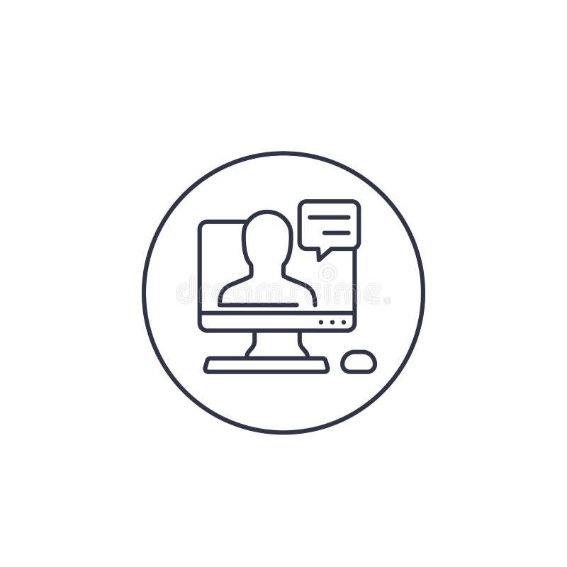 Línea icono de Webinar ilustración del vector