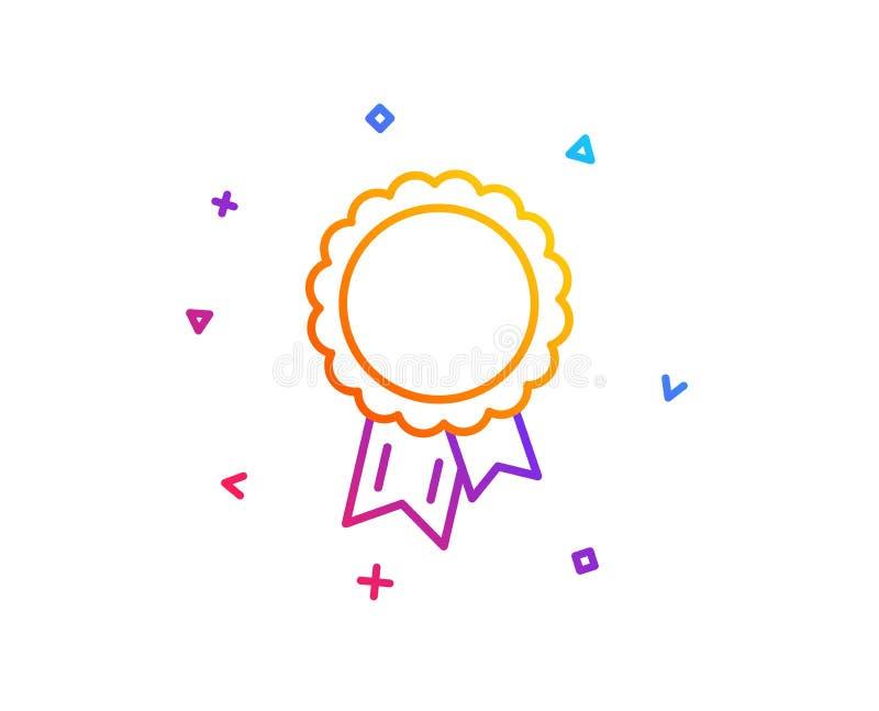 Línea icono del éxito Muestra de la medalla del ganador Vector stock de ilustración