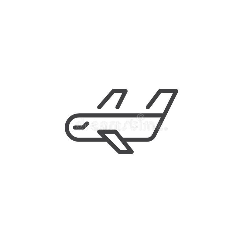Línea icono del aeroplano del cargo libre illustration