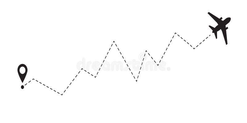 Línea icono del aeroplano del vector de la trayectoria de la ruta de vuelo del avión de aire con el punto y la línea rastro del c ilustración del vector