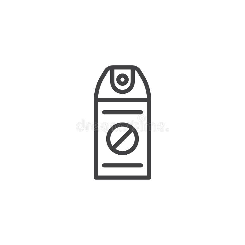 Línea icono del aerosol del repelente de insectos ilustración del vector