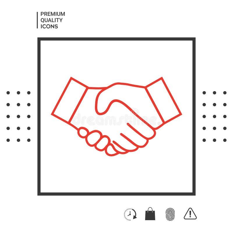 Línea icono del apretón de manos stock de ilustración