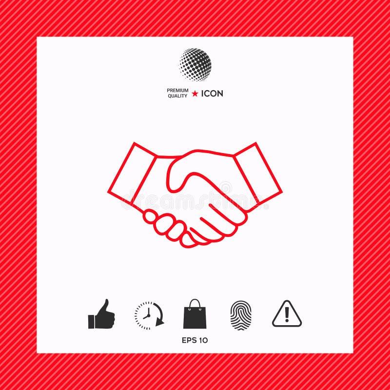 Línea icono del apretón de manos ilustración del vector