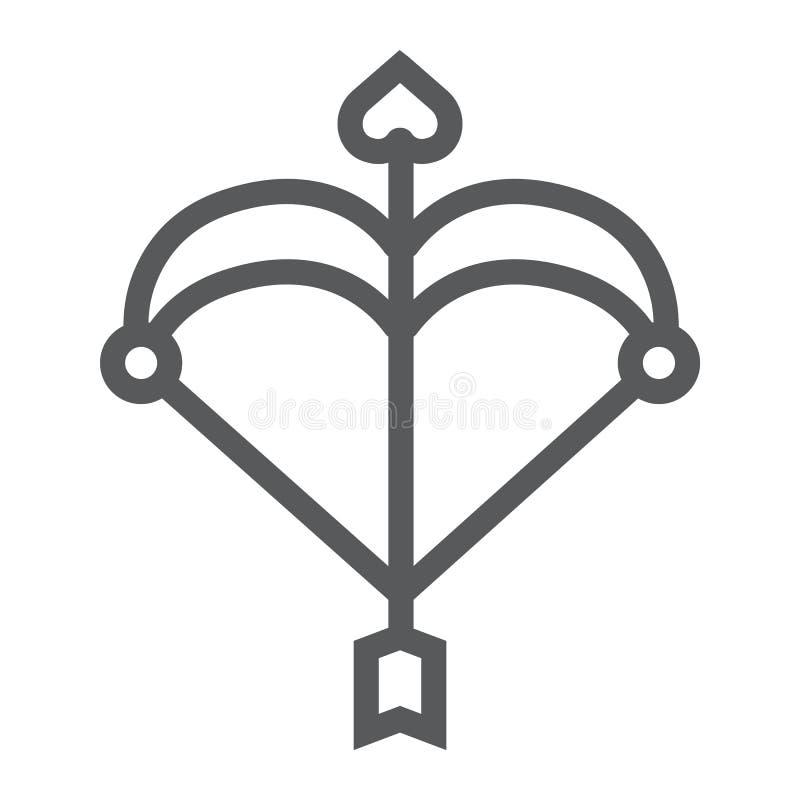 Línea icono del arco del cupido, amor y tarjeta del día de San Valentín, flecha con una muestra del corazón, gráficos de vector,  libre illustration