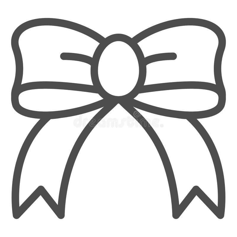 Línea icono del arco del regalo Ejemplo de seda del vector del arco aislado en blanco Diseño del estilo del esquema del nudo de l libre illustration