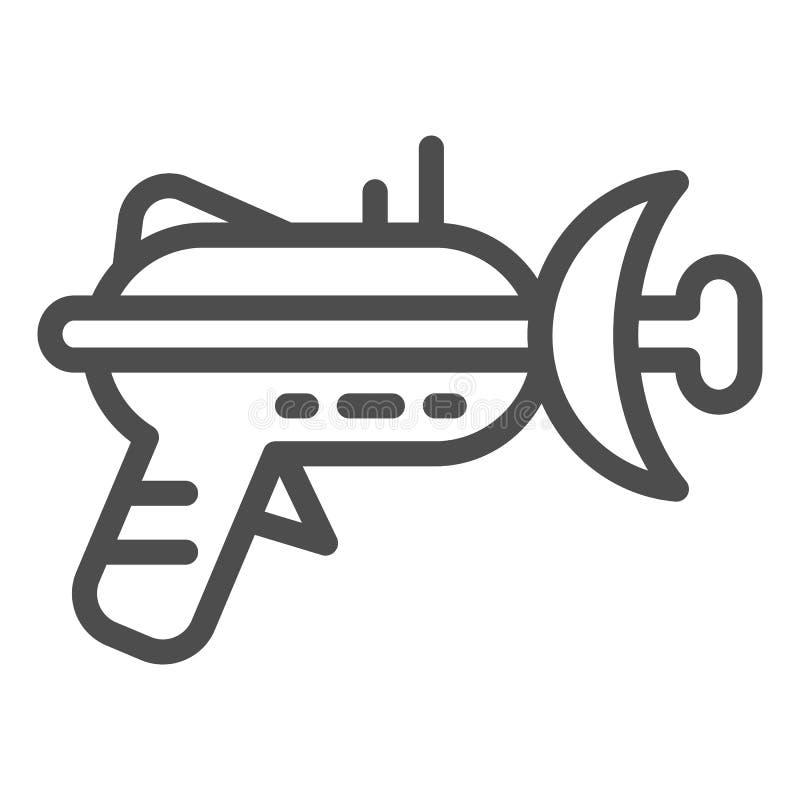 Línea icono del arenador Ejemplo del vector del arma de laser aislado en blanco Diseño del estilo del esquema del arma del espaci stock de ilustración