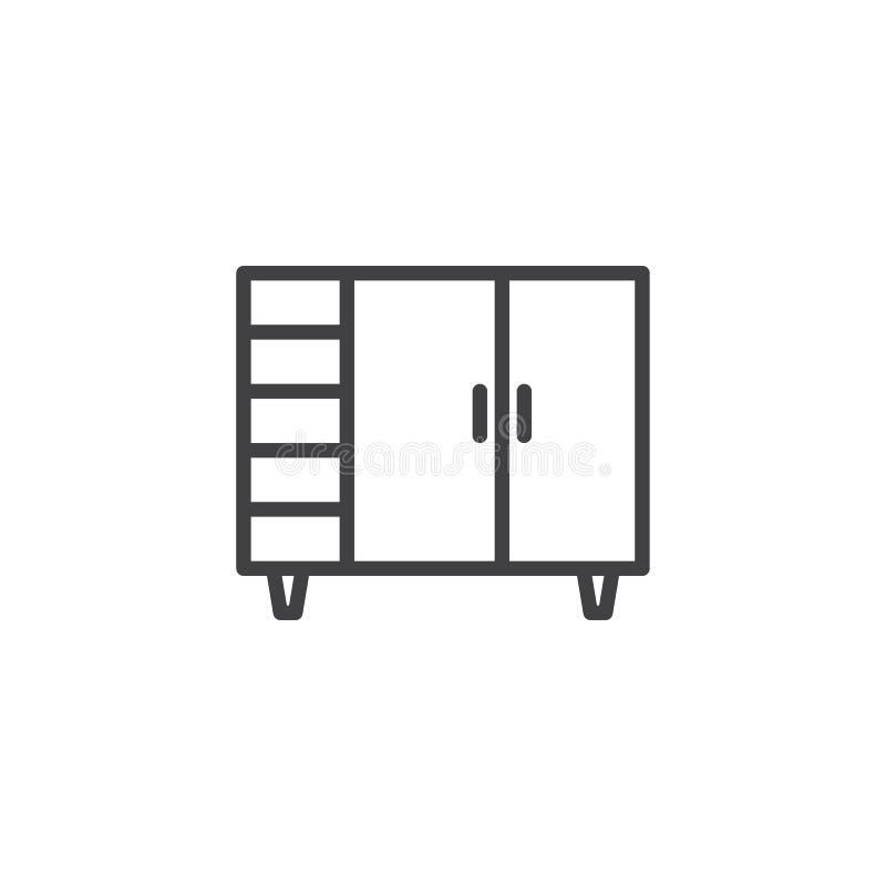 Línea icono del armario de la puerta doble stock de ilustración