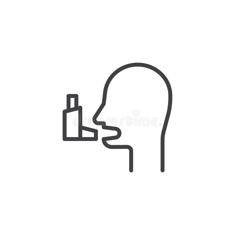 Línea icono del asma bronquial ilustración del vector