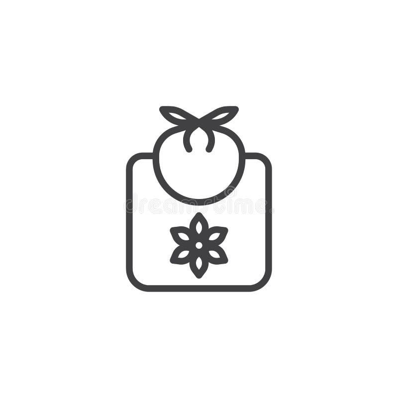 Línea icono del babero del bebé libre illustration
