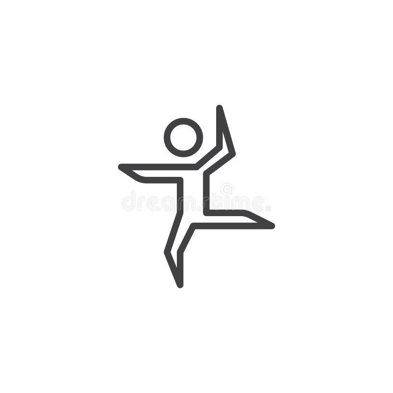 Línea icono del baile del bailarín de ballet stock de ilustración
