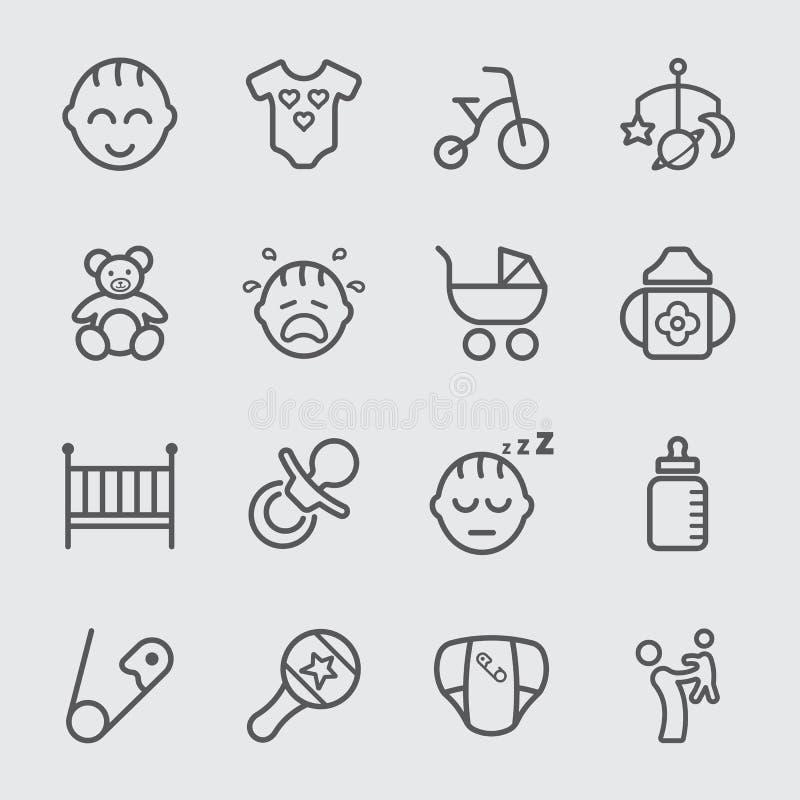 Línea icono del bebé libre illustration