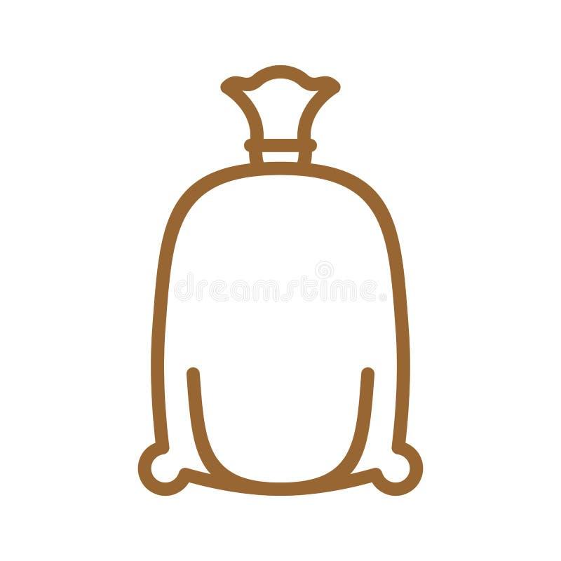 Línea icono del bolso de la harina Muestra para la producción de pan y de panadería stock de ilustración
