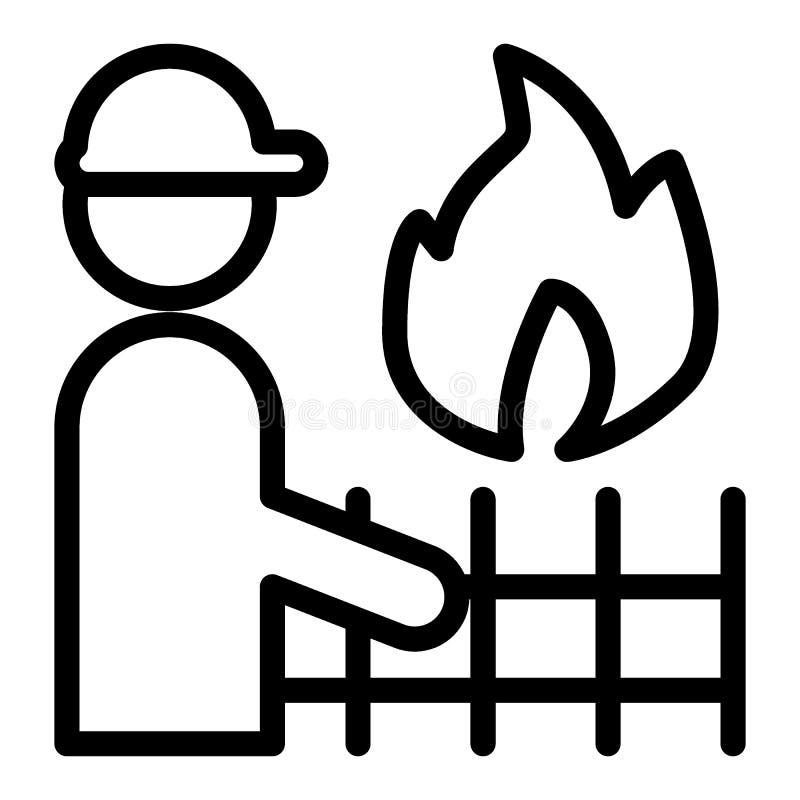 Línea icono del bombero y de fuego Bombero con el ejemplo del vector de la llama y de la cerca aislado en blanco Bombero en casco ilustración del vector
