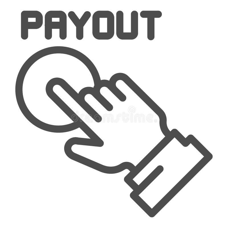 Línea icono del botón del desembolso Ejemplo del vector de la mano y del botón de la paga aislado en blanco Diseño del estilo del libre illustration