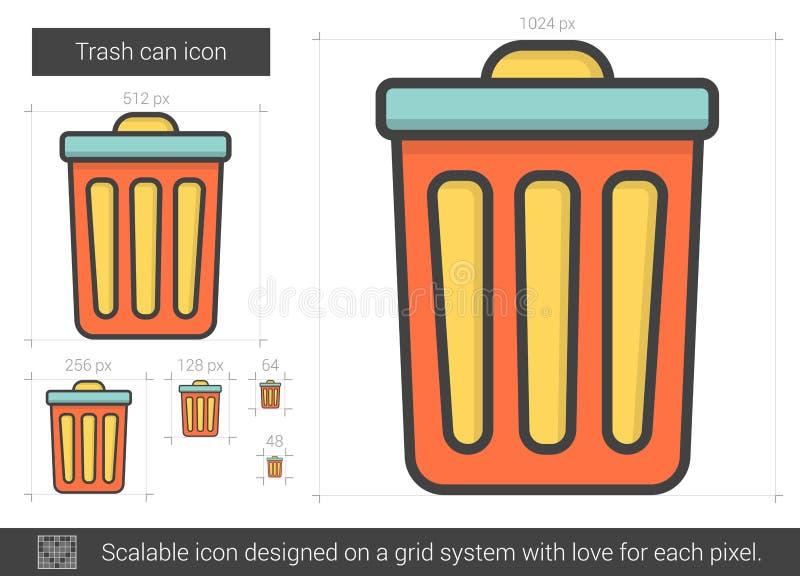 Línea icono del bote de basura ilustración del vector