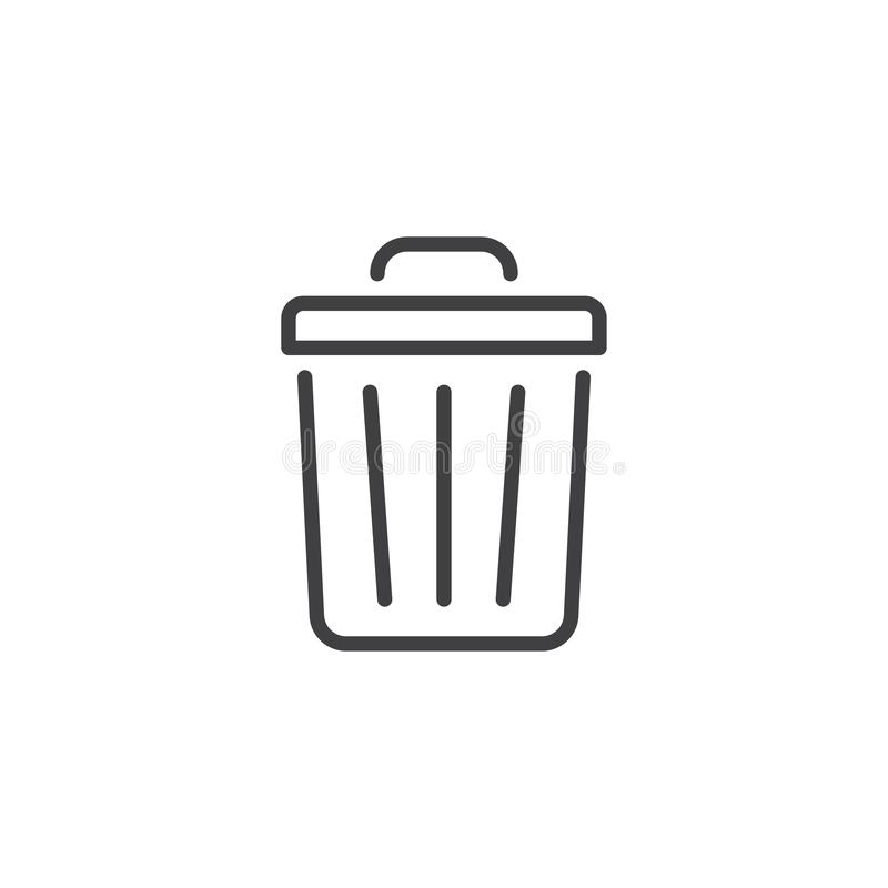 Línea icono del bote de basura libre illustration