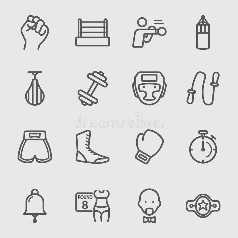Línea icono del boxeo ilustración del vector