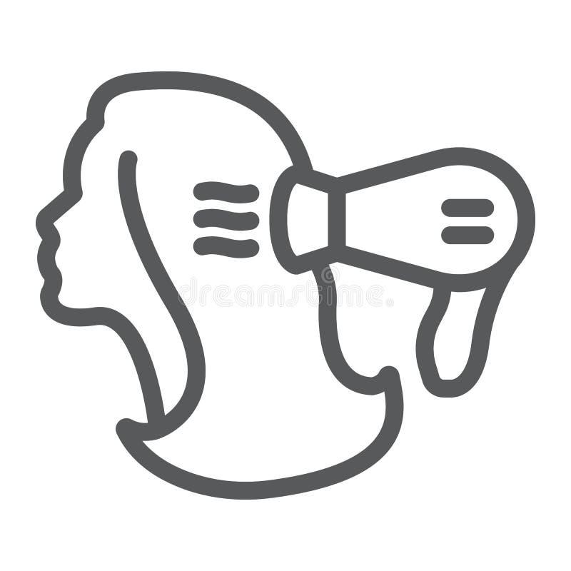 Línea icono del brushing, peluquero y blowdryer, una muestra más seca de pelo, gráficos de vector, un modelo linear en un fondo b ilustración del vector