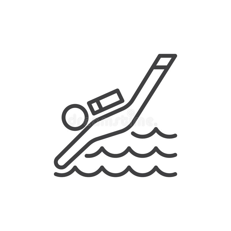 Línea icono del buceo con escafandra libre illustration