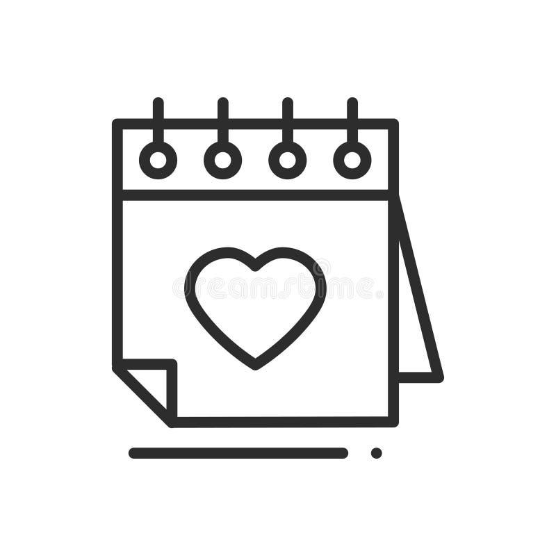 Línea icono del calendario recordatorio Muestra y símbolo felices del día de San Valentín Tema del día de boda de la datación de  ilustración del vector