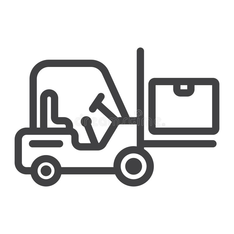 Línea icono del camión de reparto de la carretilla elevadora, logístico stock de ilustración