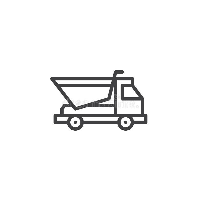 Línea icono del camión volquete libre illustration