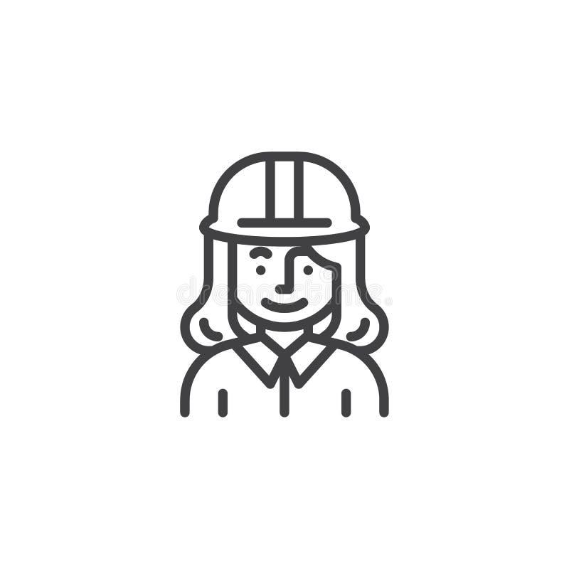 Línea icono del carácter del trabajador de construcción de la mujer libre illustration