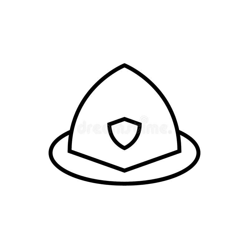 Línea icono del casco del bombero Ejemplo del vector aislado en blanco diseño del estilo del esquema, diseñado para el web y el a ilustración del vector
