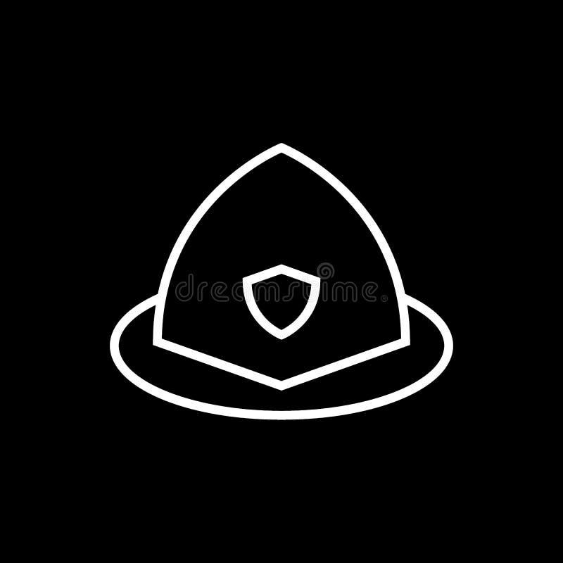 Línea icono del casco del bombero Ejemplo del vector aislado en negro diseño del estilo del esquema, diseñado para el web y el ap stock de ilustración