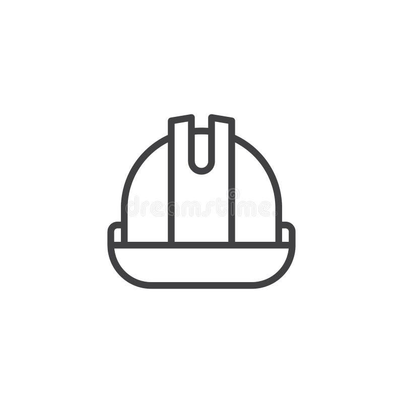 Línea icono del casco o del casco stock de ilustración