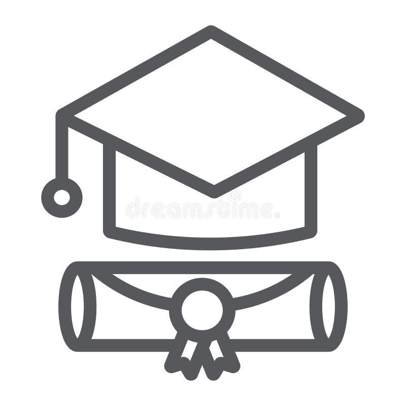 Línea icono del casquillo de la graduación, graduado y conocimiento, muestra académica del sombrero, gráficos de vector, un model stock de ilustración