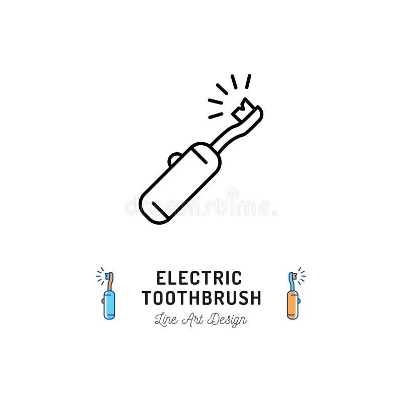 Línea icono del cepillo de dientes eléctrico Cuidado dental, higiene oral, limpieza de los dientes Ilustración del vector ilustración del vector