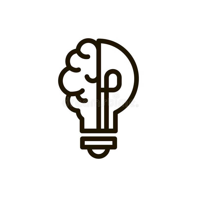 Línea icono del cerebro ilustración del vector