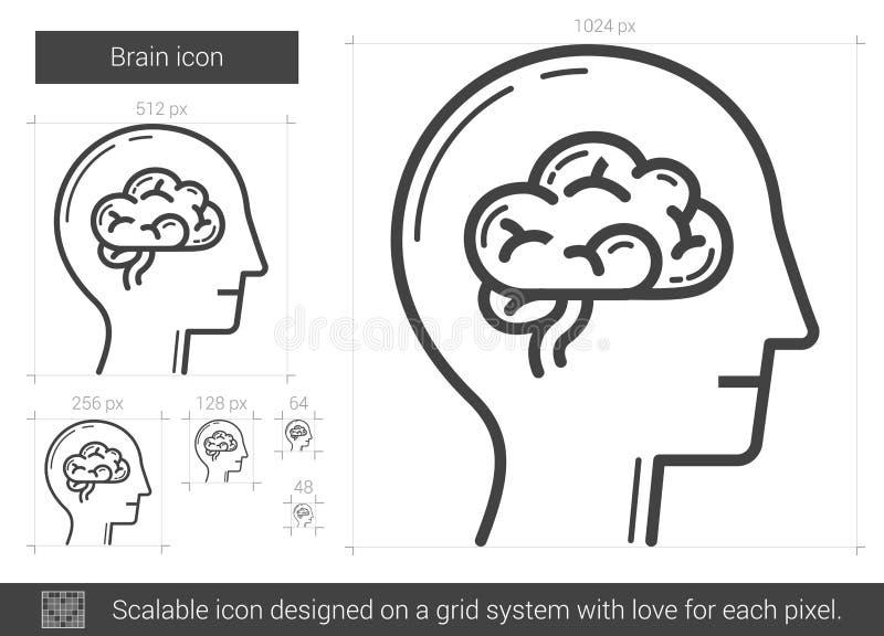 Línea icono del cerebro stock de ilustración