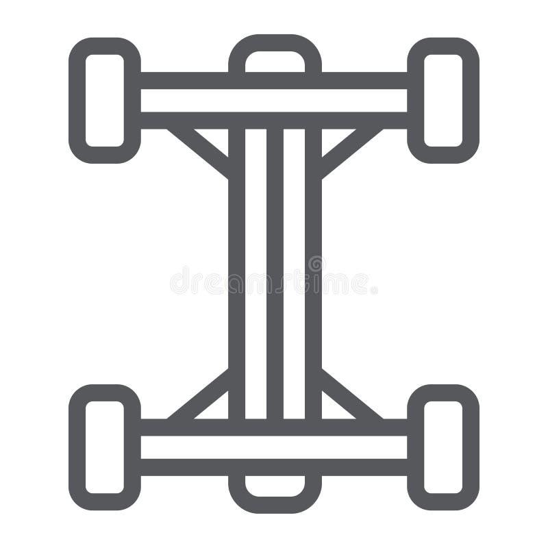 Línea icono del chasis, coche y parte, muestra auto del eje, gráficos de vector, un modelo linear en un fondo blanco stock de ilustración