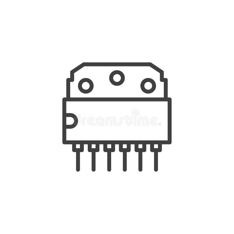 Línea icono del chip de ordenador ilustración del vector