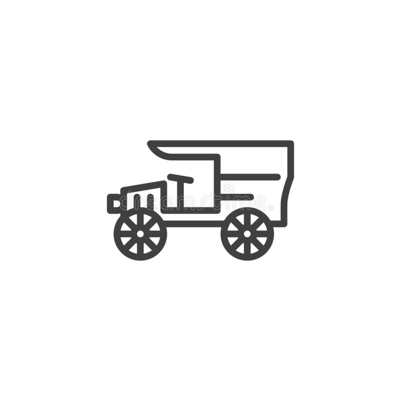 Línea icono del coche del vintage stock de ilustración