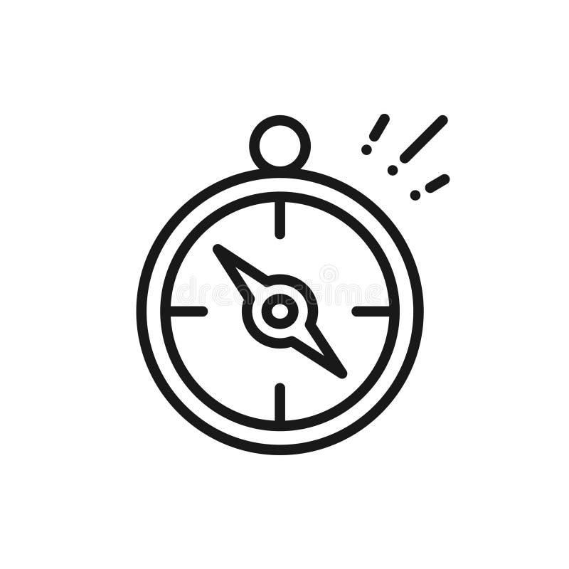Línea icono del compás orienteering Muestra y símbolo que acampan stock de ilustración