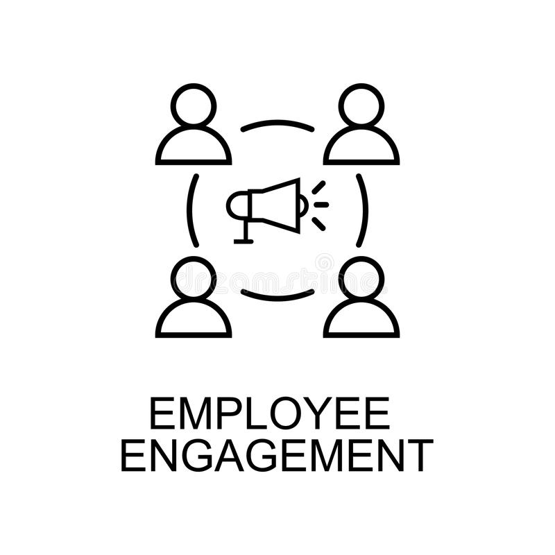 línea icono del compromiso del empleado Elemento del icono de los recursos humanos para los apps móviles del concepto y del web L ilustración del vector