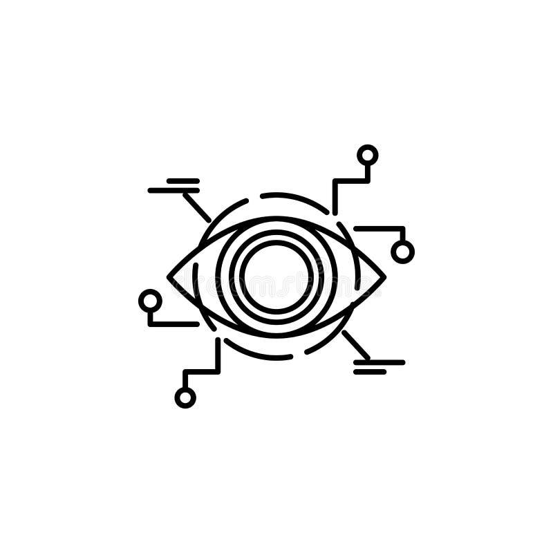 Línea icono del concepto de la opinión del robot del cyborg del Bot Ejemplo simple del elemento Diseño del símbolo del esquema de libre illustration