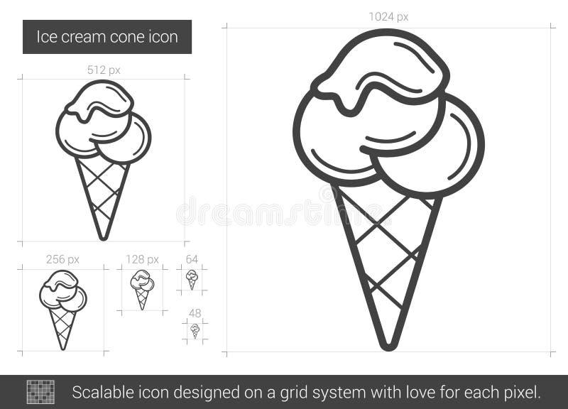 Línea icono del cono de helado ilustración del vector