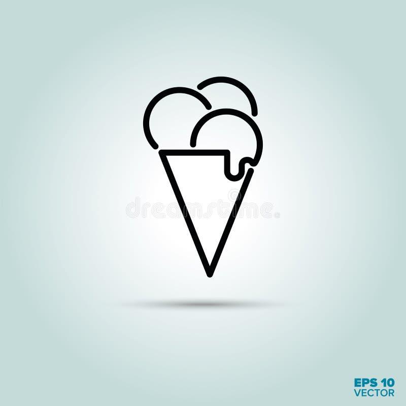 Línea icono del cono de helado stock de ilustración
