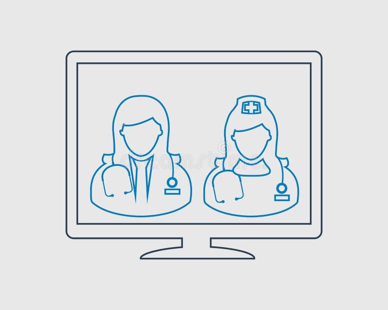 Línea icono del cuidado de la E-salud libre illustration