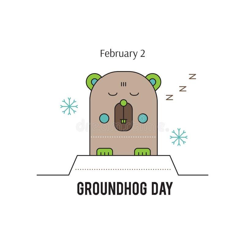 Línea icono del día de la marmota ilustración del vector