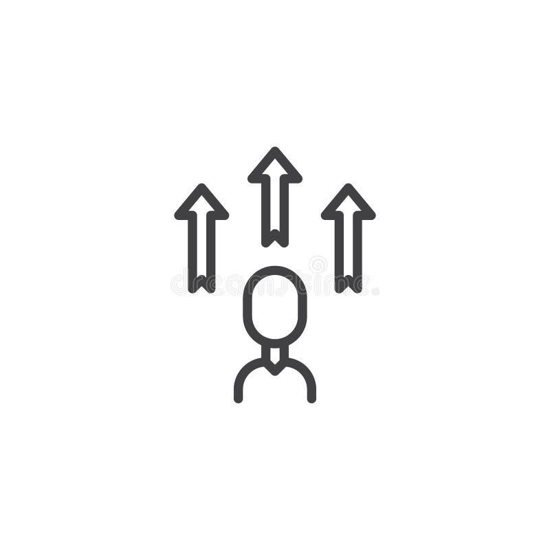 Línea icono del desarrollo del empleado stock de ilustración