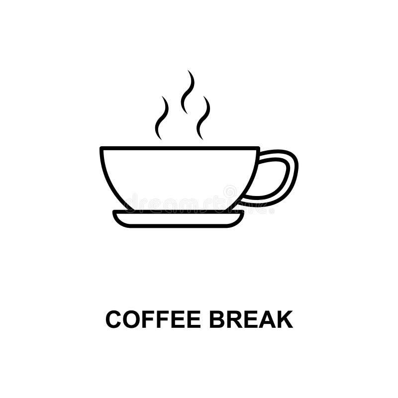 línea icono del descanso para tomar café libre illustration